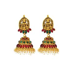 Traditional Gold Plated Temple Stone Red-Green Colored jumkas