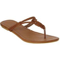 Tan Fraser flip flops ($9.66) ❤ liked on Polyvore