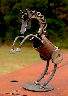 Metal yard art garden sculpture of a rearing horse. Made from scrap metal. Metal Yard Art, Metal Tree Wall Art, Scrap Metal Art, Recycled Metal Art, Wood Wall, Metal Art Projects, Welding Projects, Metal Crafts, Welding Ideas
