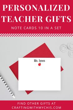 Personalized teacher note cards, teacher gift, end of year gift, personalized note cards Personalized Teacher Gifts, Great Teacher Gifts, Personalized Note Cards, Personalized Stationery, Apple Notes, Advertising And Promotion, Teacher Notes, Love To Shop, Card Making