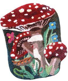 nathalie lété mushroom rug, on my wishlist Mushroom Art, Mushroom House, Latch Hook Rugs, Rug Inspiration, Textiles Techniques, Indian Rugs, Kits For Kids, Rug Hooking, Textile Art