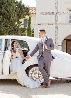 Vintage wedding car. Rolls royce.