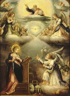 Lessons from the Divine Office of Wednesday Within the Octave of the Immaculate Conception: Luke, Homily on the Annunciation by St. Blessed Mother Mary, Blessed Virgin Mary, Religious Images, Religious Art, Scriptural Rosary, Feast Of The Annunciation, Archangel Gabriel, Queen Of Heaven, Immaculate Conception