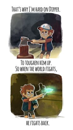 Fights back by markmak on DeviantArt, Gravity Falls Gravity Falls Funny, Gravity Falls Fan Art, Gravity Falls Comics, Gravity Falls Journal, Dipper Y Mabel, Dipper Pines, Dipper And Wendy, Serie Disney, Disney Shows