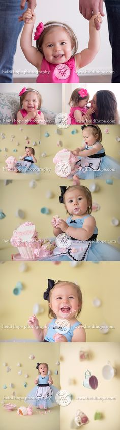 How creative! alice in wonderland first birthday cake smash-love the tea cup cookie with a number 1