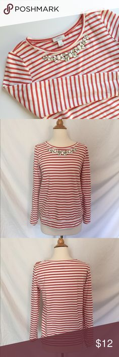 {Loft} Necklace Striped Top! Adorable top in good condition. Small stain on the shoulder as pictured, priced accordingly. Price is firm unless bundled. No trades please! LOFT Tops