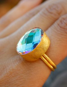 Gold Mystic Quartz Ring  Cocktail Ring  Sparkler Oval by OhKuol, $43.00