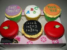 Teacher Cupcakes - (Jul These are my designs for the Teachers Thank You Cupcakes for this year. Made everything from Fondant. Hope you like them xMCx Thank You Cupcakes, Thank You Cake, Teachers Day Cake, Presents For Teachers, Cupcake Art, Cupcake Cakes, Cupcake Ideas, Cup Cakes, Teacher Thank You
