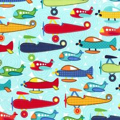 AIRPLANES SOAR on AQUA from Michael Miller by StitchStashDiva I love this, want to make a blanket for Evan with it!