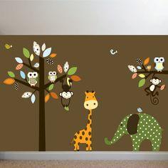 Giraffe,elephant,monkey nursery wall decal sticker vinyl tree and branch jungle decals. $125.00, via Etsy.