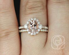 Rosados Box Bridgette 8x6mm 14kt Rose Gold Oval Morganite and Diamonds Halo Wedding Set