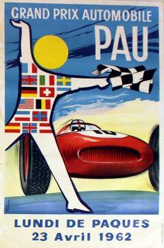 Grand Prix Automobile Pau, 1962 - original vintage poster by Ph Boutin listed on AntikBar.co.uk