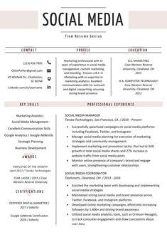 Digital Marketing Manager Resume Luxury social Media Resume Example & Writing Tips Social Media Marketing Manager, Digital Marketing Manager, Marketing Resume, Marketing Proposal, Marketing Videos, Marketing Quotes, Email Marketing, Project Manager Resume, Job Resume
