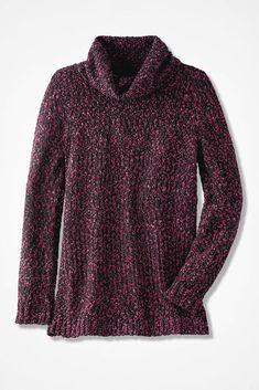 Rich Dimensions Cowlneck Sweater, Black Multi