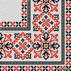 This Pin was discovered by ชาเ Folk Embroidery, Embroidery Patterns Free, Cross Stitch Embroidery, Cross Stitch Patterns, Embroidery Designs, Cross Stitch Borders, Cross Stitch Designs, Cross Stitching, Palestinian Embroidery