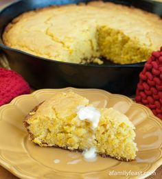 Moist, light and delicious cornbread made with creamed corn, ricotta cheese, mascarpone cheese and baked in cast-iron skillet for the perfect golden crust.