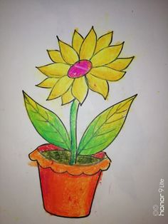Easy Drawings For Kids, Drawing For Kids, Pencil Drawings, Colours, Activities, Plants, Art, Art Background, Simple Drawings For Kids