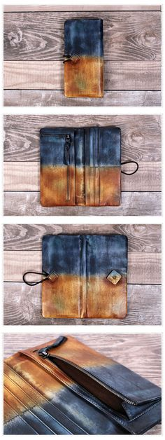 Phone Wallet Genuine Leather Long Wallet Dimensions: Length: 19 cm; Height: 9.5cm Color: Coffee/Red/Brown