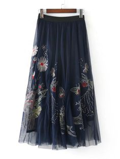Butterfly Embroidery Mesh Overlay Skirt