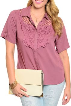 DHStyles Women's Rose Plus Size Unique Mesh Overlay Johnny Collar Button Up Short Sleeve Top - 1X #sexytops #clubclothes #sexydresses #fashionablesexydress #sexyshirts #sexyclothes #cocktaildresses #clubwear #cheapsexydresses #clubdresses #cheaptops #partytops #partydress #haltertops #cocktaildresses #partydresses #minidress #nightclubclothes #hotfashion #juniorsclothing #cocktaildress #glamclothing #sexytop #womensclothes #clubbingclothes #juniorsclothes #juniorclothes #trendyclothing…