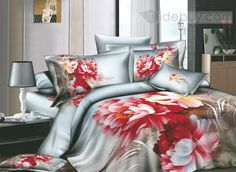 Modern Chinese Ink Active Printed 4 Piece Cotton Comforter Sets