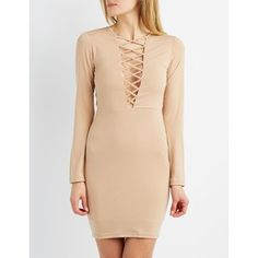 Charlotte Russe Lattice-Trim Bodycon Dress