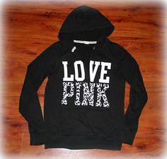Victoria's Secret Love Pink Cheetah Print Black White Hoodie