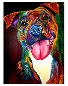 pretty #colorful #pitbull #art #dog