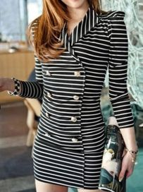 British Style Turn Down Collar Long Sleeve Double Breasted Work Dress Black