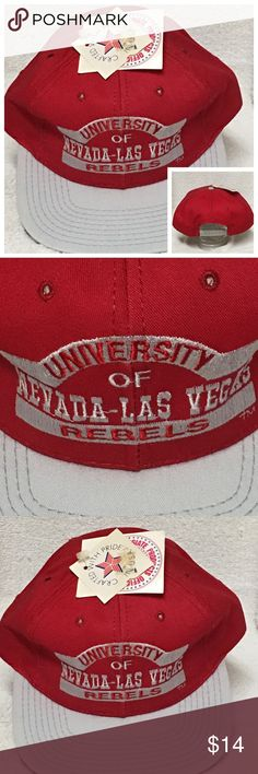 UNLV Rebels Vintage SnapBack 90's Cap Hat Red NCAA UNLV Rebels Vintage SnapBack 90's Cap  UNLV Rebels Vintage SnapBack 90's  Cap Is In Good Overall Condition. It Has Some Very Light Discoloration In The Fold Of The Cap As Seen In The Pictures.    #90's #Vintage #Collectible #UNLV #Rebels #Cap #Hat #Snapback Accessories Hats