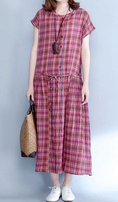 Women loose fitting over plus size plaid dress long tunic pregnant maternity #Unbranded #dress #Casual