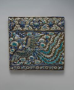 Tile with Image of Phoenix; late 13th century; Iran, probably Takht-i Sulaiman