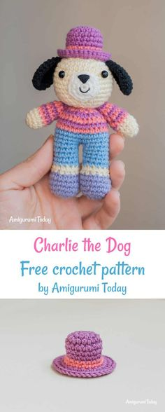 Charlie the Dog crochet pattern Crochet Dog free crochet pattern by Amigurumi Today Crochet Amigurumi Free Patterns, Crochet Animal Patterns, Crochet Doll Pattern, Stuffed Animal Patterns, Doll Patterns, Crochet Toys, Crochet Animals, Cute Crochet, Crochet Baby