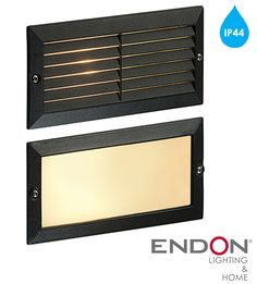 Endon 'Eco' IP44 40W Outdoor Wall Light, Textured Black Paint & Frosted Glass - OL60AB None