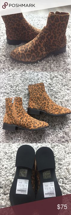 """*Final Sale* Topshop Klash leopard print boots - 1"""" heel  - 6"""" shaft - Side zip closure - Suede or leather upper/textile and synthetic or leather lining/synthetic sole                                                                - Size 5.5/Euro 36 Topshop Shoes Ankle Boots & Booties"""