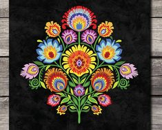 Polish Folky Art Print Wycinanki Flower Papercut style Floral Botanical Gift Choice of 7 Folk Colors 5 x 7 8 x 10 or 11 x 14 Bordado Popular, Style Floral, Polish Folk Art, Truck Art, Russian Folk, Folk Fashion, Art Prints Quotes, Motif Floral, Paper Cutting