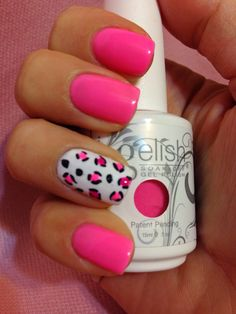 Gelish make you blink pink with cute animal print
