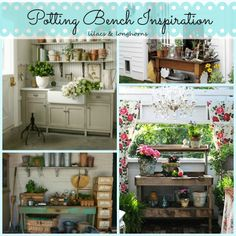 Looking for some fun garden inspiration?  Check out these gorgeous outdoor potting benches and sheds!