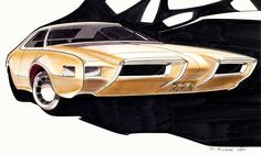 Early pastel and Prismacolor rendering for facelift on Toronado 8/07/67.