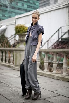 HOW TO WEAR THIS TREND :  KNIT ROMPER TREND - KNIT OVERALLS - KNIT SALOPETTE  Stefanel Jumpsuit - knit overalls, head to toe knitwear, salopette in maglia.