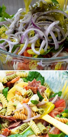 Pasta salad loaded with veggies and meat and topped off with a homemade Italian dressing! Pasta salad loaded with veggies and meat and topped off with a homemade Italian dressing! Best Salad Recipes, Best Italian Recipes, Healthy Recipes, Pasta Salad Recipes Cold, Homemade Pasta Salad, Healthy Pasta Salad, Italian Meals, Italian Dinner Recipes, Salad Recipes Video