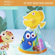 Muchas ideas para decorar tu fiesta de Dory y Nemo con estas decoraciones para imprimir y armar. Recibí tu kit en tu mail, imprimí y decorá. Nemo Y Dory, Party Printables, Tweety, Character, Invitation Cards, Printables, Decorations, Invitations, Lettering