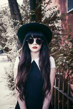 Love the dark bangs, subtle ombrè, thick hair, awesome hat. #Beautiful_Hair