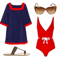 Red swimsuit and blue and red dress is a perfect combo for a day on a yacht. #fashion #yacht #style #swimsuit