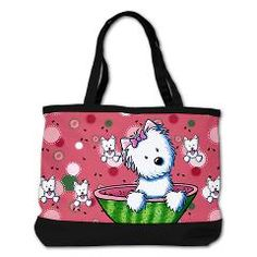 KiniArt Watermelon Westies Shoulder Bag.  © KiniArt - Kim Niles. All Rights Reserved