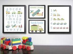 Transportation Nursery Art Prints. Children decor. Children's Art. Baby boy art…