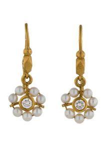 Cathy Waterman Pearl and Diamond Dangle Earrings