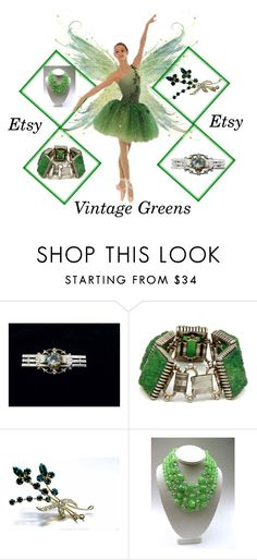 """Vintage Greens Etsy"" by muskrosevintage ❤ liked on Polyvore featuring vintage"