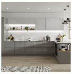 Modern Grey Kitchen, Grey Kitchen Designs, Gray And White Kitchen, Kitchen Room Design, Modern Kitchen Cabinets, Kitchen Cabinet Design, Modern Kitchen Design, Interior Design Kitchen, Home Decor Kitchen