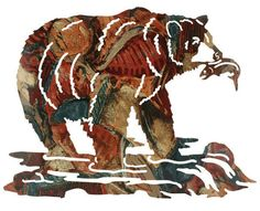 Grizzly Bear Snack Metal Wall Sculpture